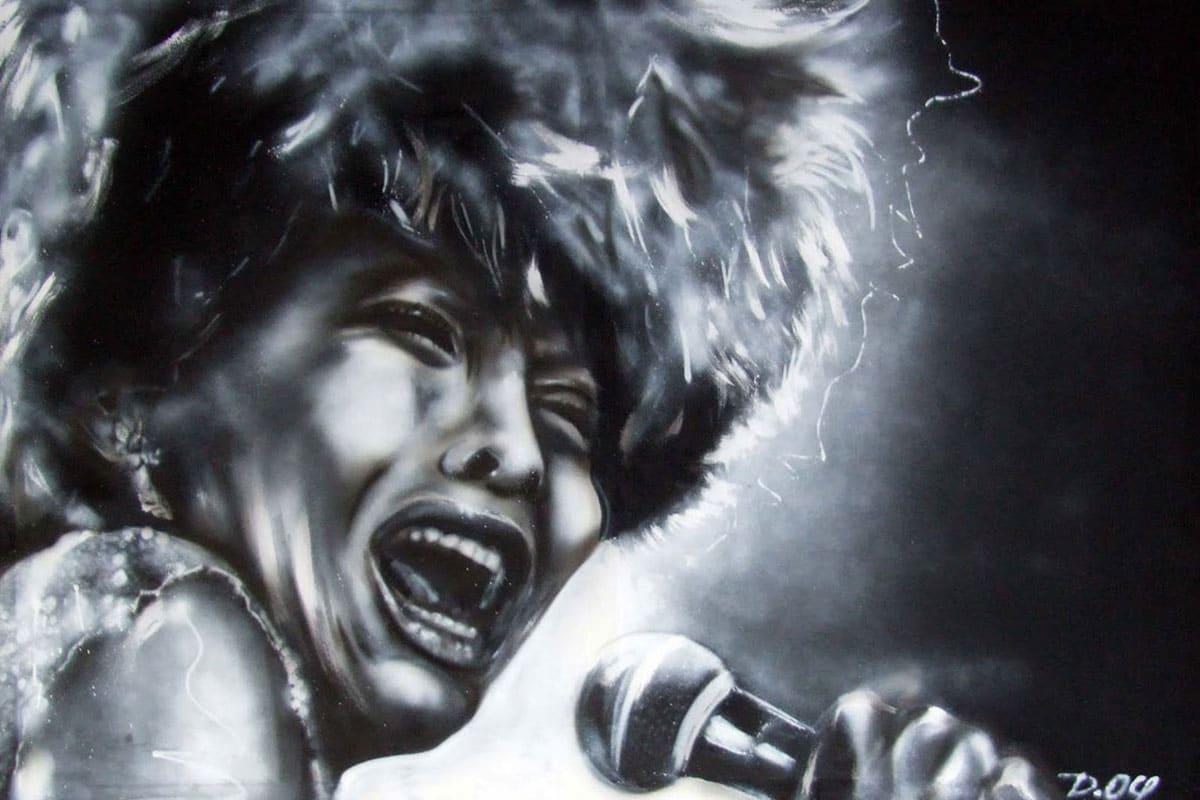 Jan von Graffiti Stuttgart hat auf Wunsch eines Kunden ein ausdruckstarkes Porträt von Tina Turner auf Leinwand gesprüht.