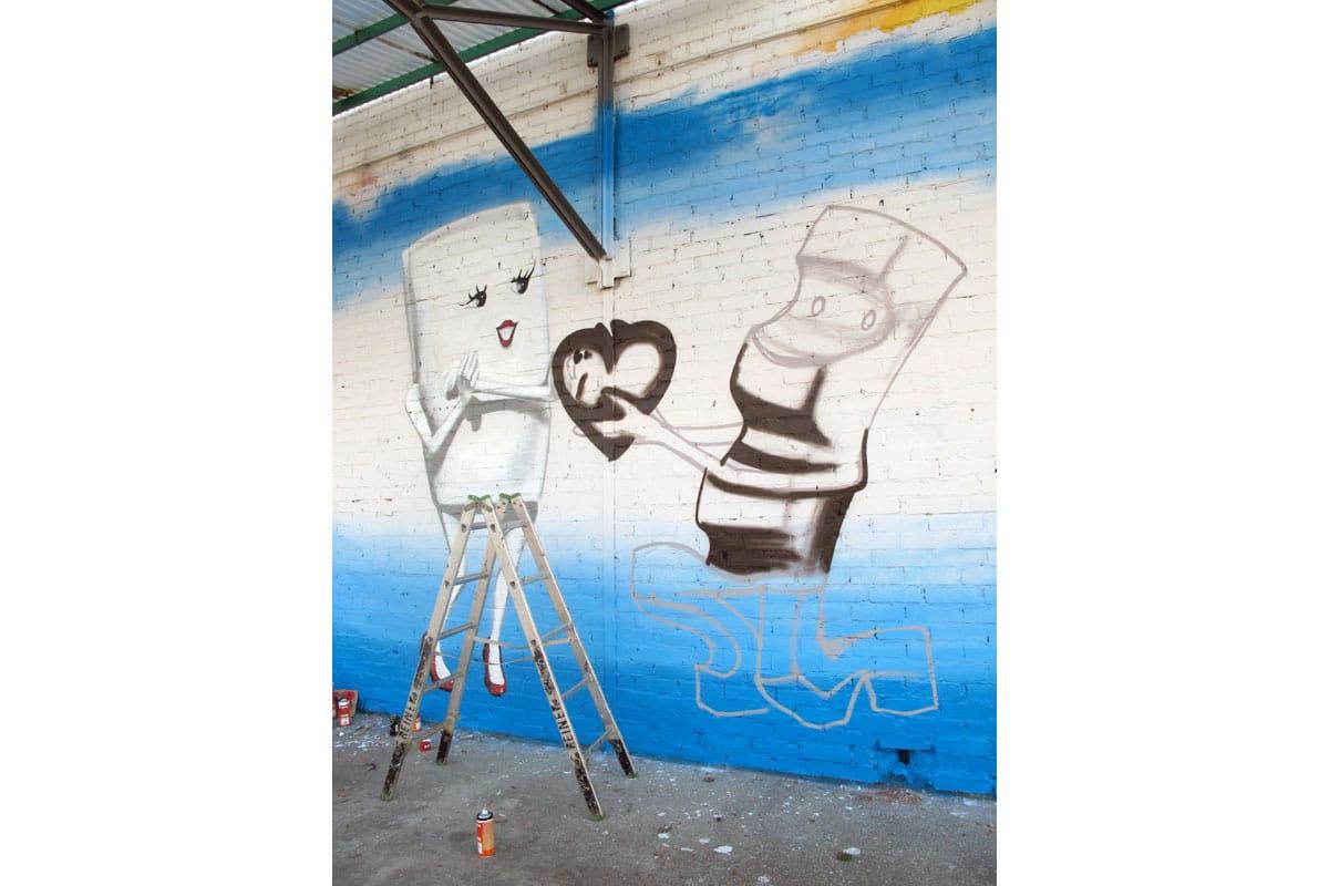 Graffiti Heiratsantrag-Wandgestaltung