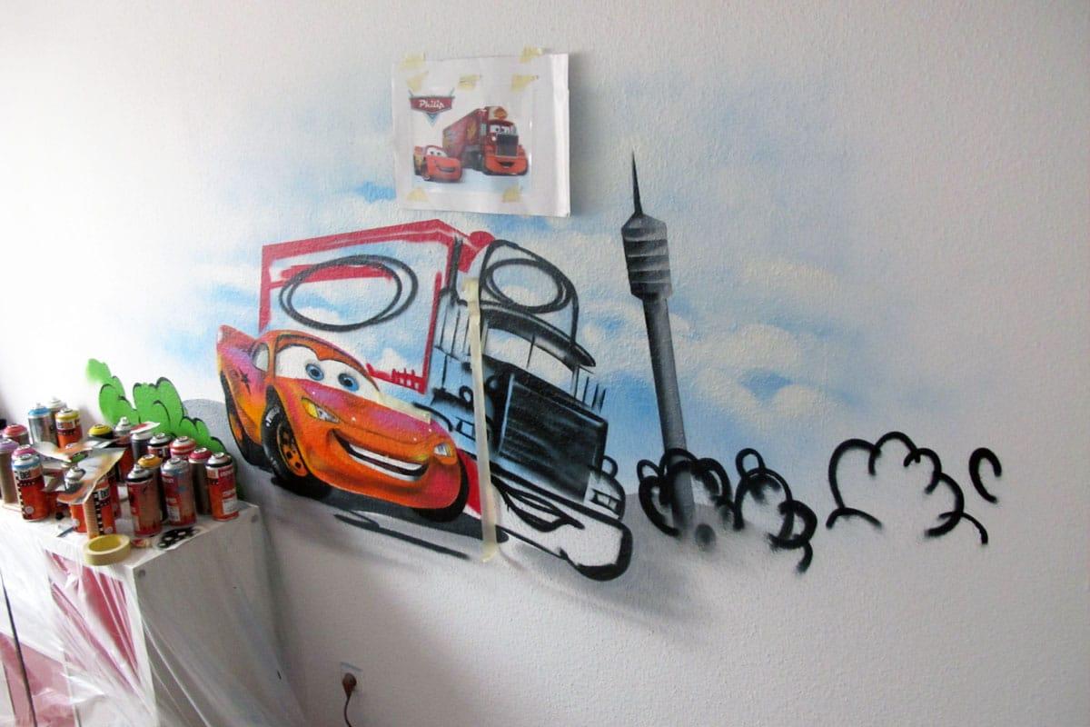 Graffiti Stuttgart » kinderzimmer-graffiti-cars-3