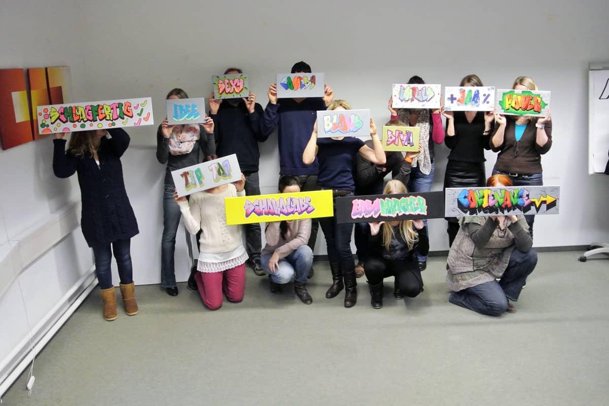 """Mit dem Thema """"Teamvision 2014"""" haben wir unseren ersten Kreativ Graffiti Workshop mit einer Stuttgarter Abteilung der ENBW veranstaltet."""