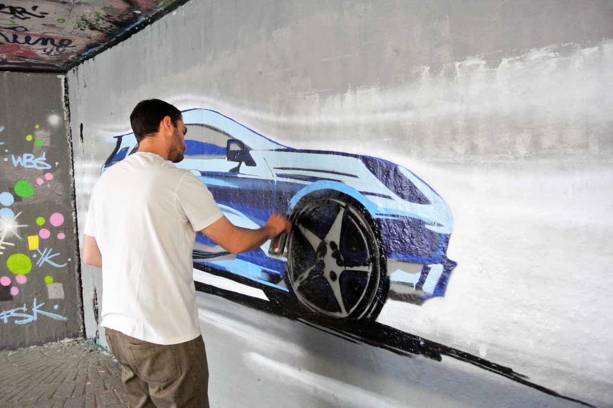 Für die Mitarbeiter der Porsche AG wurden wir von Graffiti Stuttgart für einen Kreativworkshop der besonderen Art arrangiert – Graffiti als Gemeinschaftserlebnis!