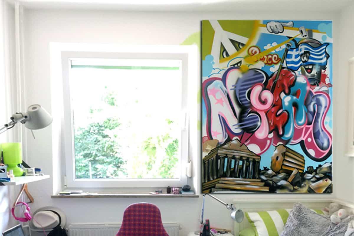 Kinderzimmer Leinwand Nefeli - Graffiti Stuttgart