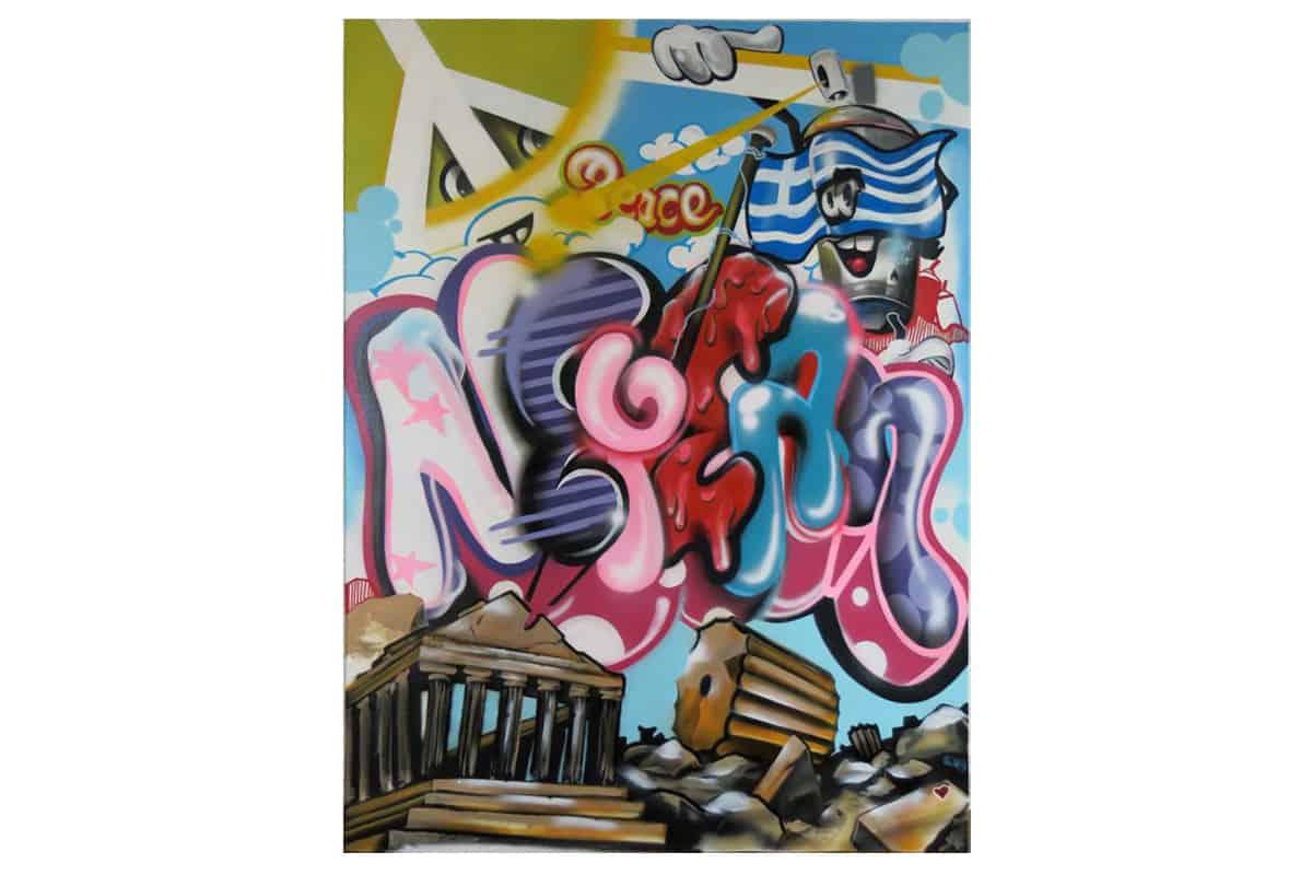 Zum Geburtstag wünschte sich Nefeli ein Graffiti für ihr Kinderzimmer. Jan sprühte ihren Namen in einem Graffiti Style auf eine Leinwand