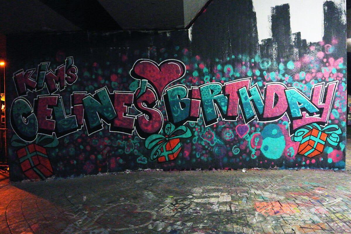 Um den 12. Geburtstag von Celine gebürtig zu feiern, haben wir von Graffiti Stuttgart mit ihren Gästen ein cooles Graffiti an der legalen Graffiti Hall of Fame in Stuttgart Bad Cannstatt gemalt.
