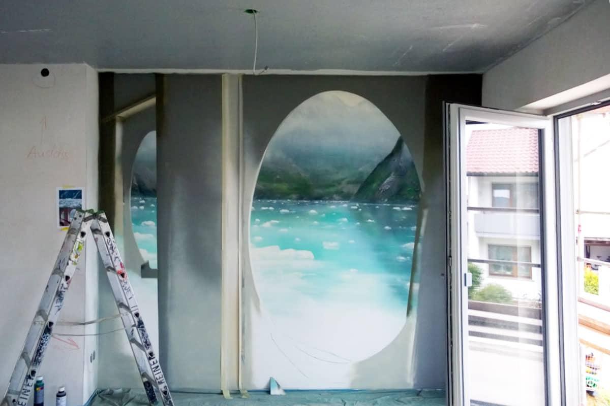 Wir von Graffiti Stuttgart wurden beauftragt eine Innenraumgestaltung für eine Esszimmerwand in Stuttgart zu gestalten.