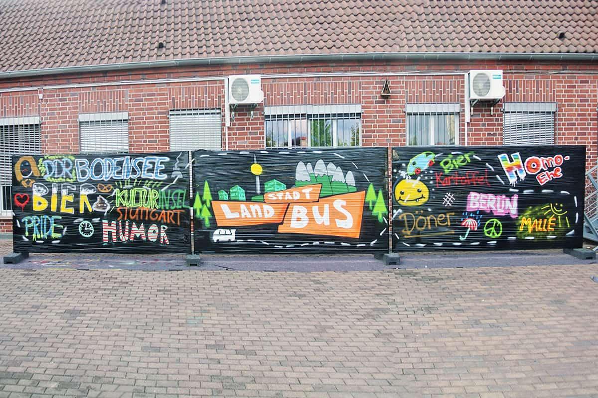 Graffiti Workshop STADT LAND BUS! In dieser Folge treffen die Jugendlichen im alten Zollamt in Bad Cannstatt in der Kulturinsel auf Patrick.
