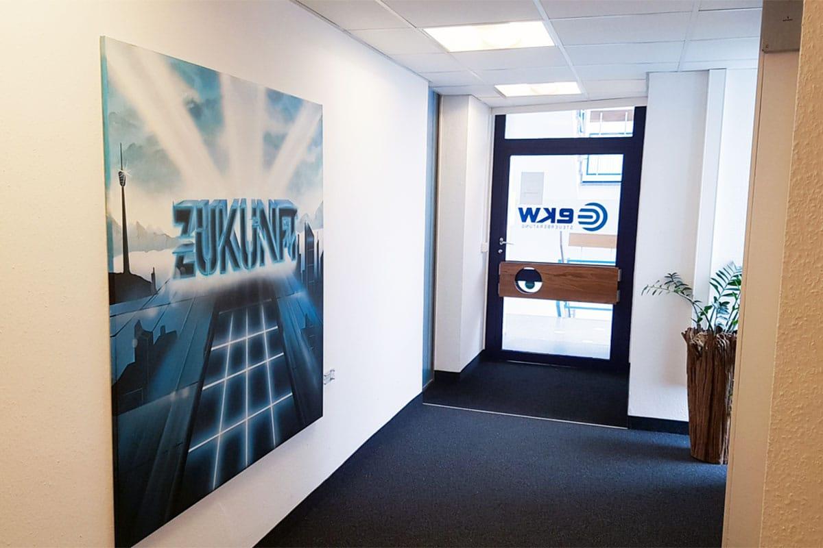 Für unseren Stuttgarter Kunden, derEKWTreuhand Steuerberatungsgesellschaft wurden wir beauftragt fünf Leinwände mit Ihren Kernwerten zu visualisieren.