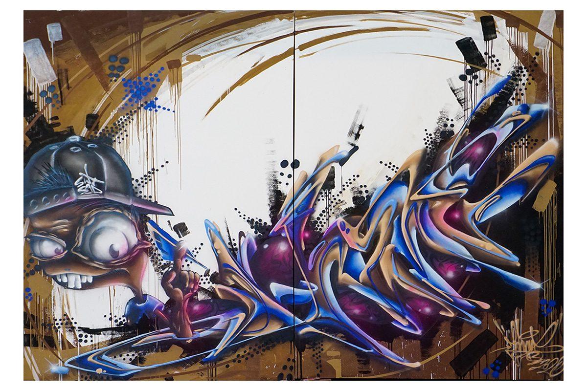 """Der Künstler JOH2NY bis zum 6. Januar 2021 sein Werk """"DAS NEUE ERDMINERAL"""" aus der SECRET WALLS GALLERY Walls Gallery zur Auktion."""