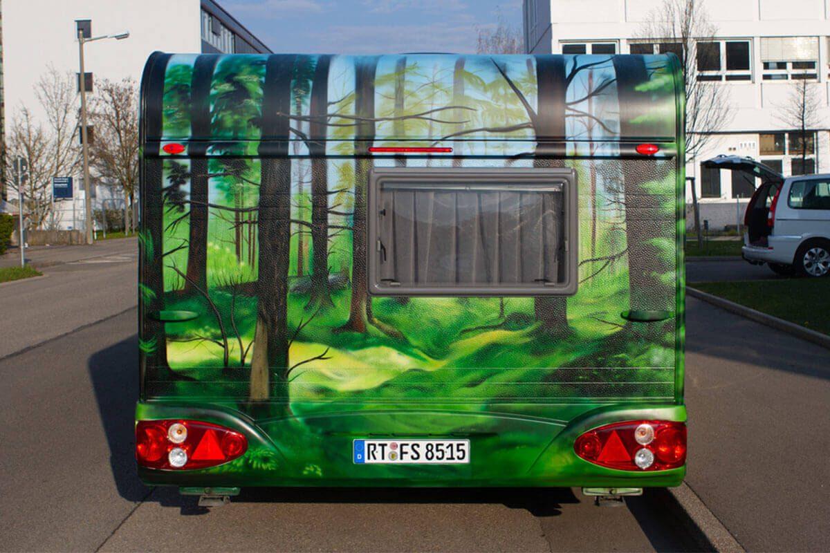 """Graffiti Fahrzeuggestaltung Wohnwagen """"Landschaft"""""""