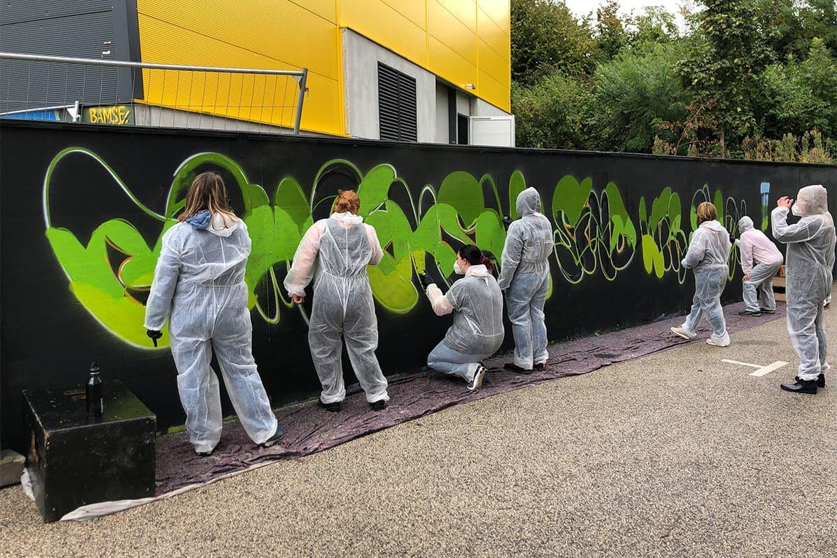 Zusammen mit den Mitarbeiterinnen des Kindergarten St. Nikolaus aus Neu-Ulm, haben wir Graffiti Teambuilding Event veranstaltet.